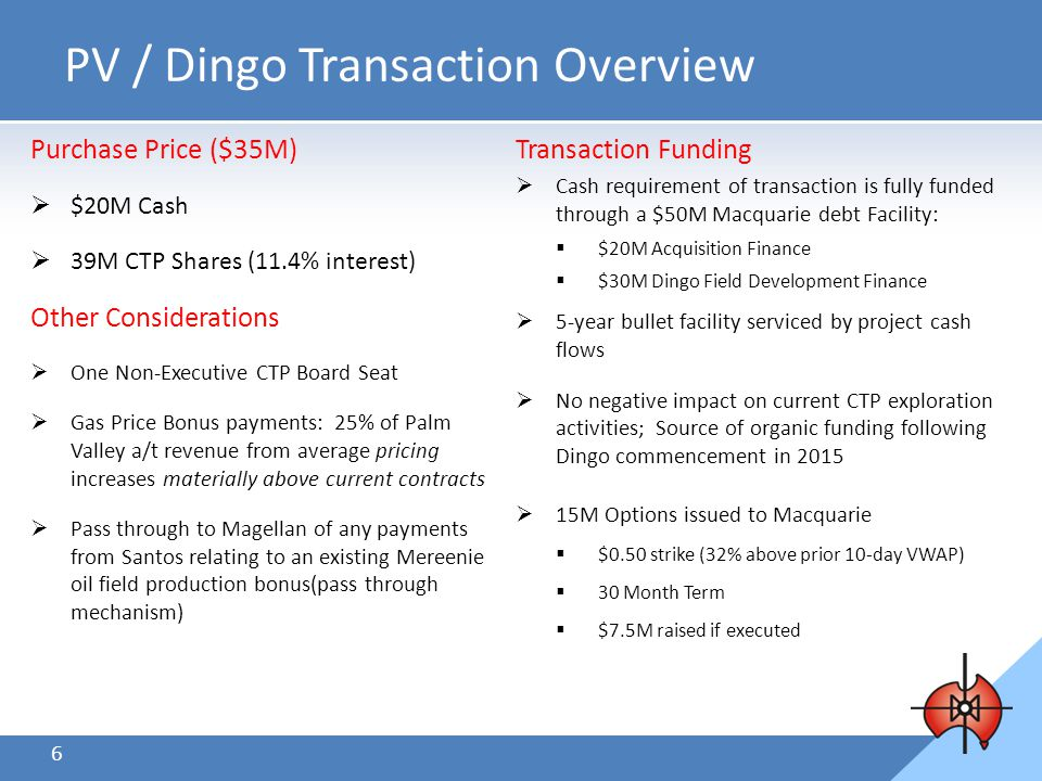 6 Transaction Funding  Cash requirement of transaction is fully funded through a $50M Macquarie debt Facility:  $20M Acquisition Finance  $30M Dingo Field Development Finance  5-year bullet facility serviced by project cash flows  No negative impact on current CTP exploration activities; Source of organic funding following Dingo commencement in 2015  15M Options issued to Macquarie  $0.50 strike (32% above prior 10-day VWAP)  30 Month Term  $7.5M raised if executed PV / Dingo Transaction Overview Purchase Price ($35M)  $20M Cash  39M CTP Shares (11.4% interest) Other Considerations  One Non-Executive CTP Board Seat  Gas Price Bonus payments: 25% of Palm Valley a/t revenue from average pricing increases materially above current contracts  Pass through to Magellan of any payments from Santos relating to an existing Mereenie oil field production bonus(pass through mechanism)