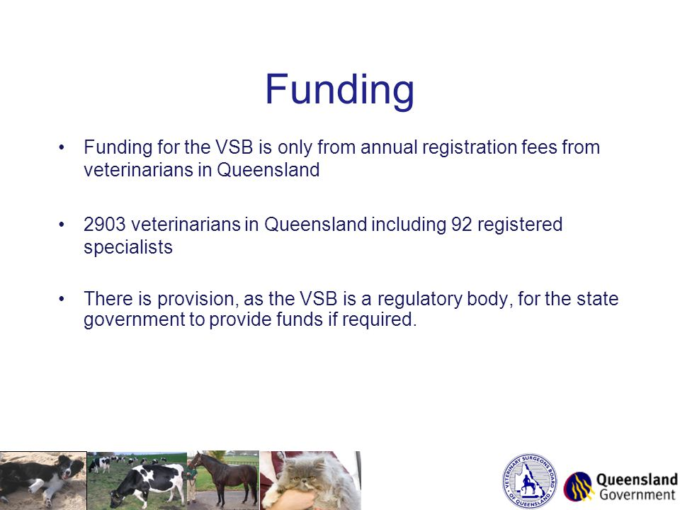 Funding Funding for the VSB is only from annual registration fees from veterinarians in Queensland 2903 veterinarians in Queensland including 92 registered specialists There is provision, as the VSB is a regulatory body, for the state government to provide funds if required.