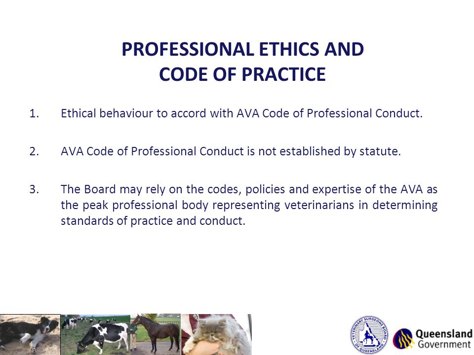 PROFESSIONAL ETHICS AND CODE OF PRACTICE 1.Ethical behaviour to accord with AVA Code of Professional Conduct.
