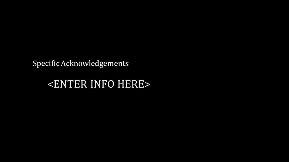 Specific Acknowledgements