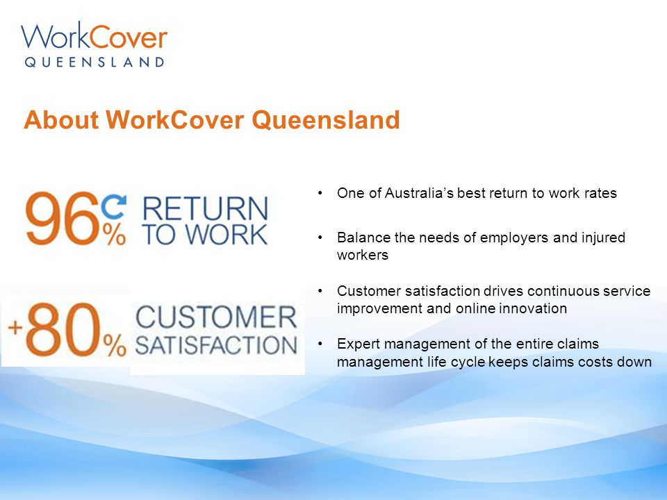 About WorkCover Queensland One of Australia's best return to work rates Balance the needs of employers and injured workers Customer satisfaction drives continuous service improvement and online innovation Expert management of the entire claims management life cycle keeps claims costs down
