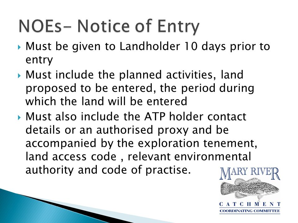  Once a tenure holder confirms exploration is viable you will be served a Notice of Intention to negotiate an agreement  Before any activities begin a conduct and compensation agreement(or a deferral agreement) must have been agreed on  Or applied to the Land Court for a decision regarding compensation entitlement