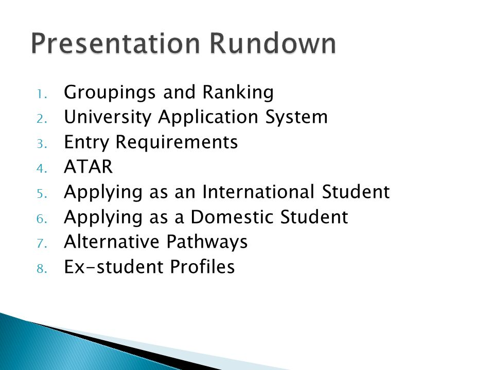 1. Groupings and Ranking 2. University Application System 3.