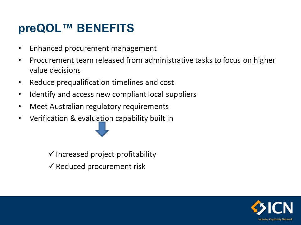 preQOL™ BENEFITS Enhanced procurement management Procurement team released from administrative tasks to focus on higher value decisions Reduce prequalification timelines and cost Identify and access new compliant local suppliers Meet Australian regulatory requirements Verification & evaluation capability built in Increased project profitability Reduced procurement risk