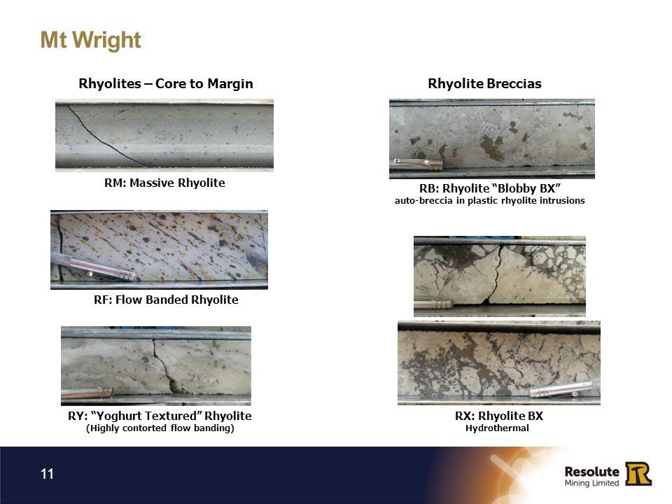 Mt Wright 11 Rhyolites – Core to Margin RM: Massive Rhyolite RF: Flow Banded Rhyolite RY: Yoghurt Textured Rhyolite (Highly contorted flow banding) Rhyolite Breccias RB: Rhyolite Blobby BX auto-breccia in plastic rhyolite intrusions RX: Rhyolite BX Hydrothermal