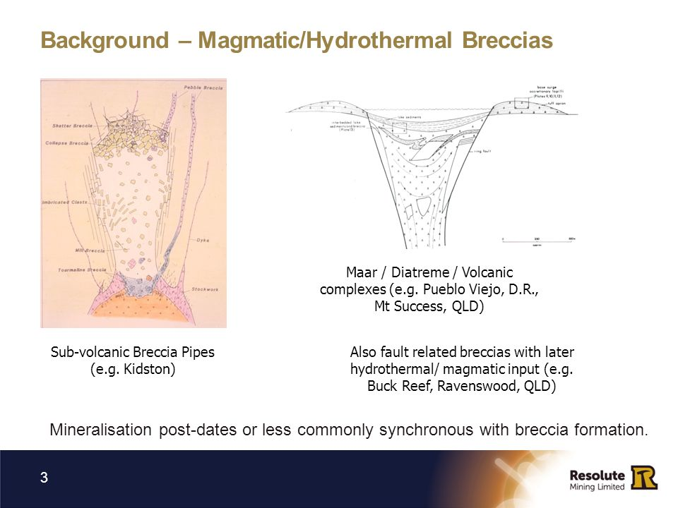 Background – Magmatic/Hydrothermal Breccias Mineralisation post-dates or less commonly synchronous with breccia formation.
