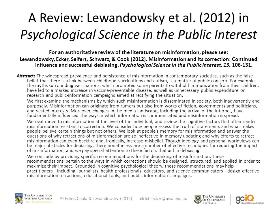 A Review: Lewandowsky et al.