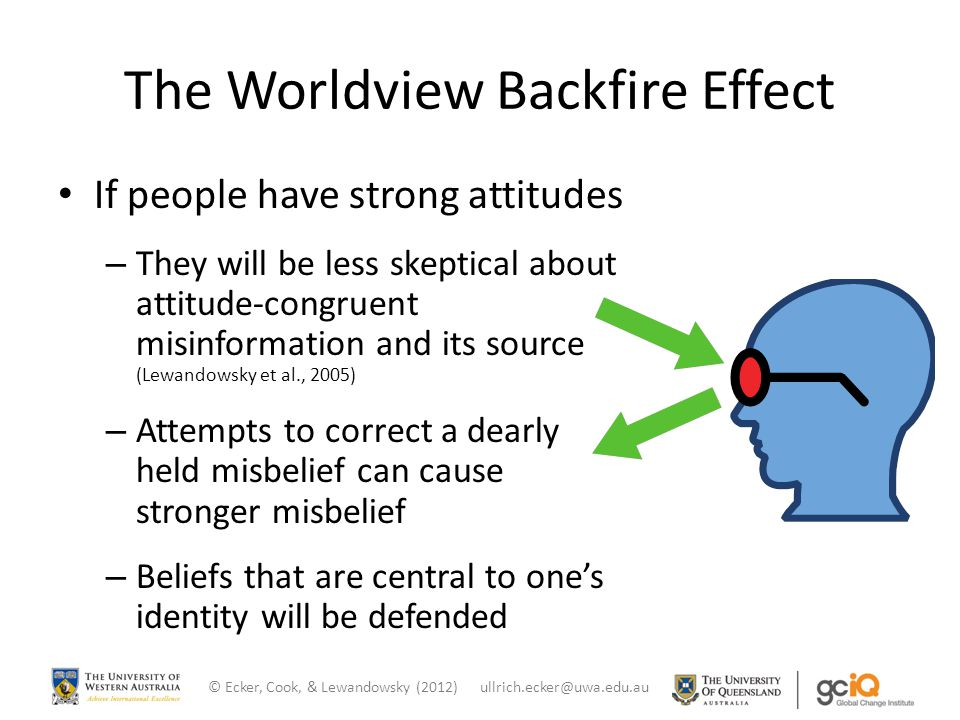 The Worldview Backfire Effect If people have strong attitudes – They will be less skeptical about attitude-congruent misinformation and its source (Le