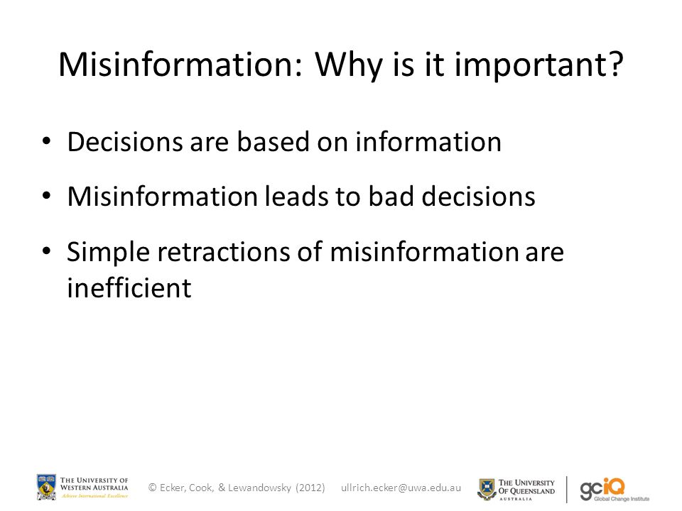 Misinformation: Why is it important.