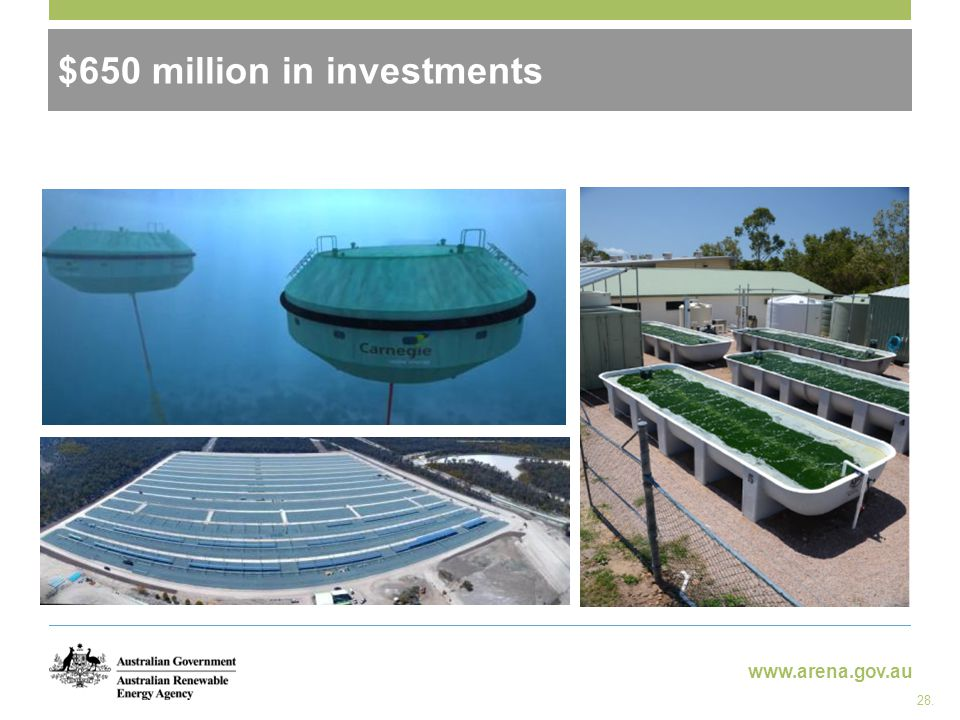 www.arena.gov.au $650 million in investments 28.