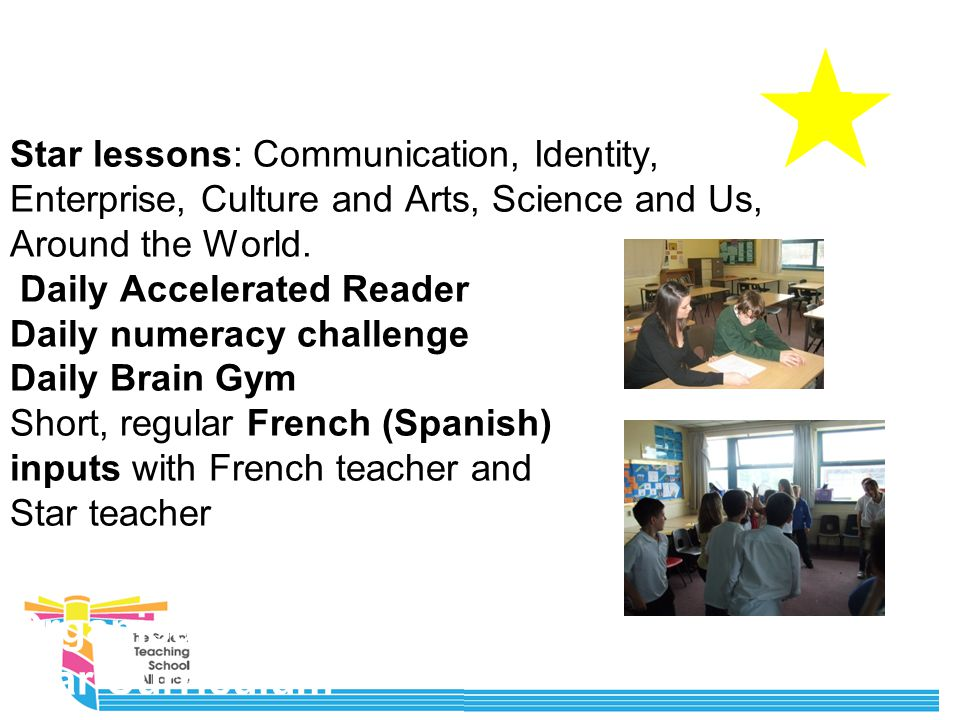 Organisation of Star Curriculum Star lessons: Communication, Identity, Enterprise, Culture and Arts, Science and Us, Around the World.