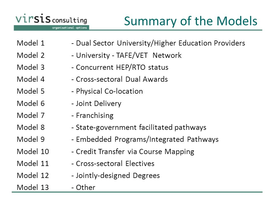 Summary of the Models Model 1- Dual Sector University/Higher Education Providers Model 2- University - TAFE/VET Network Model 3 - Concurrent HEP/RTO status Model 4 - Cross-sectoral Dual Awards Model 5 - Physical Co-location Model 6 - Joint Delivery Model 7 - Franchising Model 8 - State-government facilitated pathways Model 9 - Embedded Programs/Integrated Pathways Model 10 - Credit Transfer via Course Mapping Model 11 - Cross-sectoral Electives Model 12 - Jointly-designed Degrees Model 13 - Other