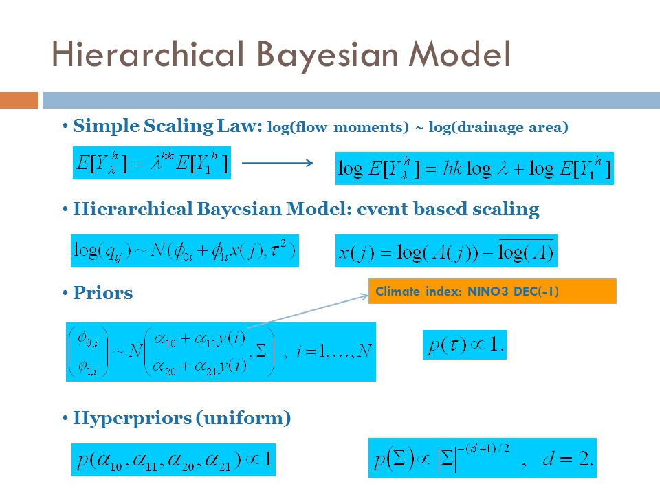 Simple Scaling Law: log(flow moments) ~ log(drainage area) Hierarchical Bayesian Model: event based scaling Priors Hyperpriors (uniform) Climate index: NINO3 DEC(-1) Hierarchical Bayesian Model