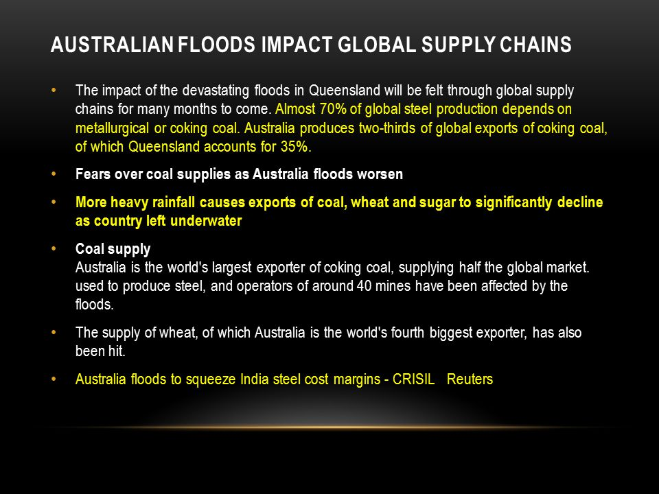AUSTRALIAN FLOODS IMPACT GLOBAL SUPPLY CHAINS The impact of the devastating floods in Queensland will be felt through global supply chains for many months to come.