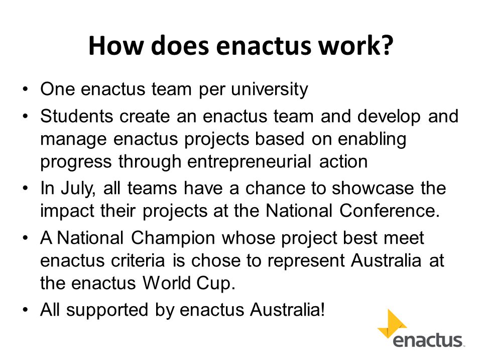 Example enactus Team Structure 1 For more information on establishing an effective team see page 22 of the 2013 Enactus Team Handbook2013 Enactus Team Handbook Faculty Advisor