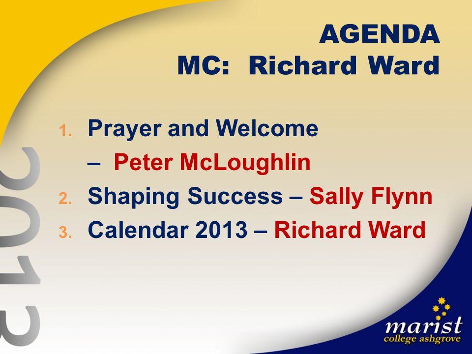 AGENDA MC: Richard Ward 1. Prayer and Welcome – Peter McLoughlin 2.