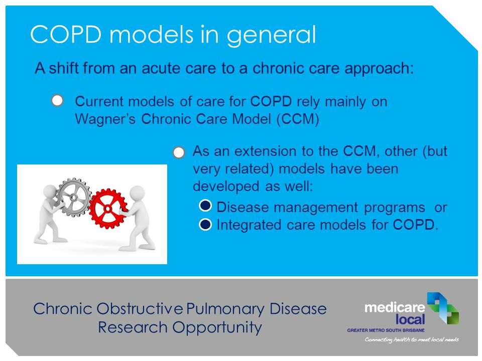 Chronic Obstructive Pulmonary Disease Research Opportunity As an extension to the CCM, other (but very related) models have been developed as well: Disease management programs or Integrated care models for COPD.