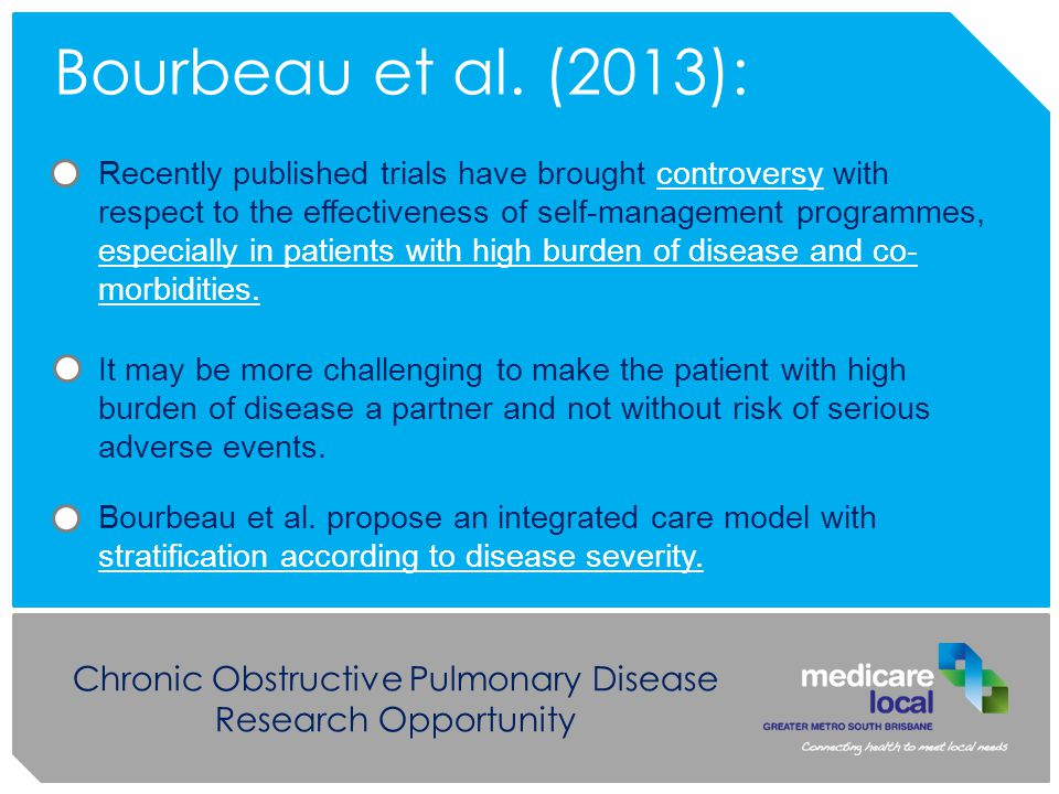Chronic Obstructive Pulmonary Disease Research Opportunity Bourbeau et al.