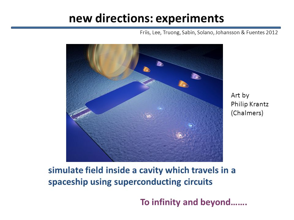 new directions: experiments simulate field inside a cavity which travels in a spaceship using superconducting circuits To infinity and beyond…….