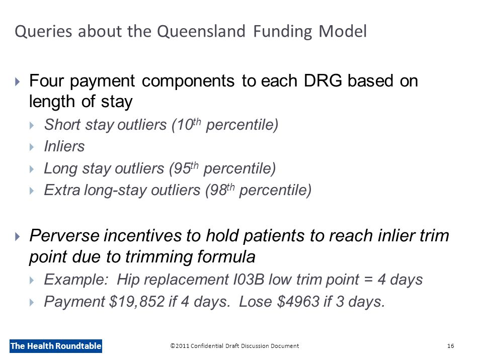 The Health Roundtable Queries about the Queensland Funding Model  Four payment components to each DRG based on length of stay  Short stay outliers (10 th percentile)  Inliers  Long stay outliers (95 th percentile)  Extra long-stay outliers (98 th percentile)  Perverse incentives to hold patients to reach inlier trim point due to trimming formula  Example: Hip replacement I03B low trim point = 4 days  Payment $19,852 if 4 days.