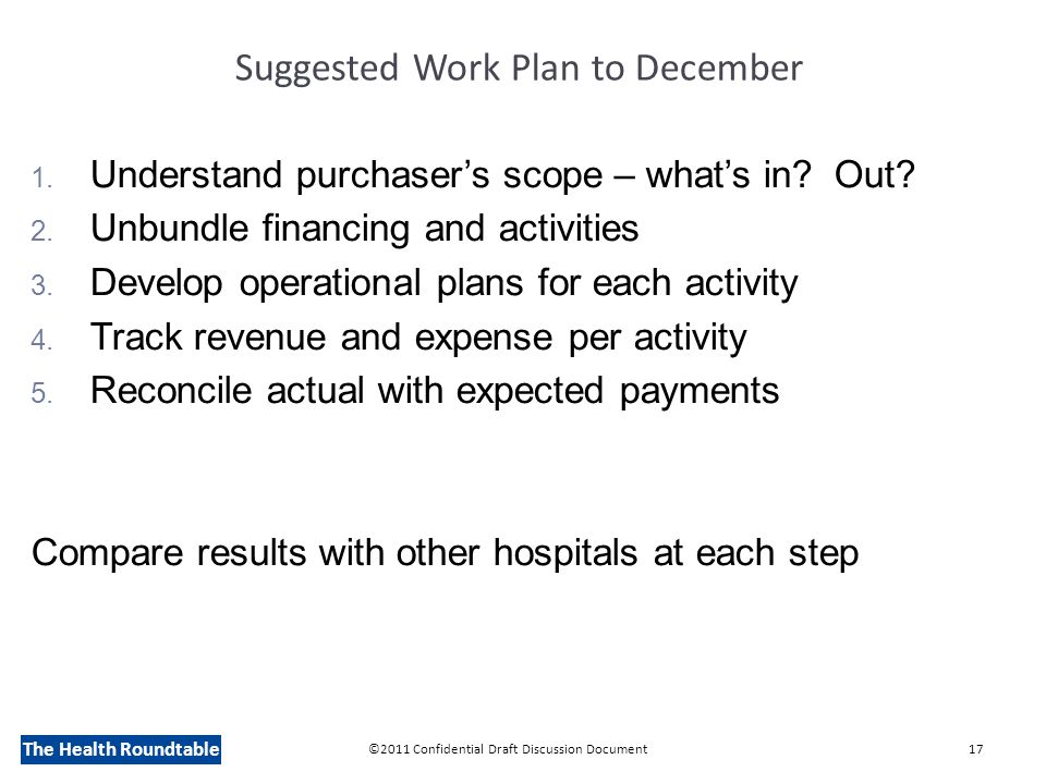 The Health Roundtable Suggested Work Plan to December 1.