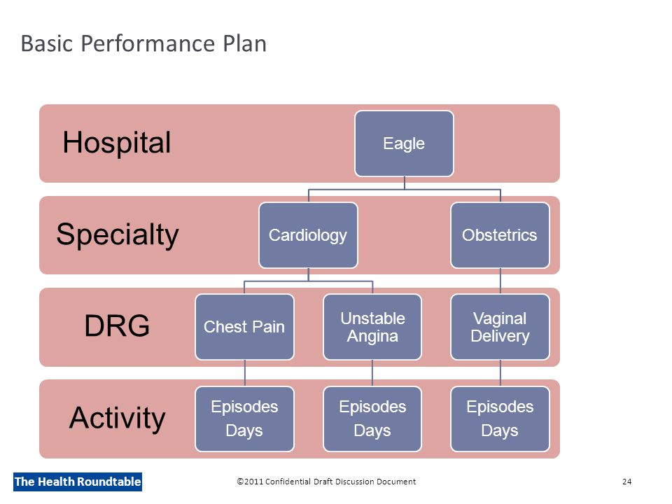 The Health Roundtable Basic Performance Plan ©2011 Confidential Draft Discussion Document24 Activity DRG Specialty Hospital EagleCardiologyChest Pain Episodes Days Unstable Angina Episodes Days Obstetrics Vaginal Delivery Episodes Days