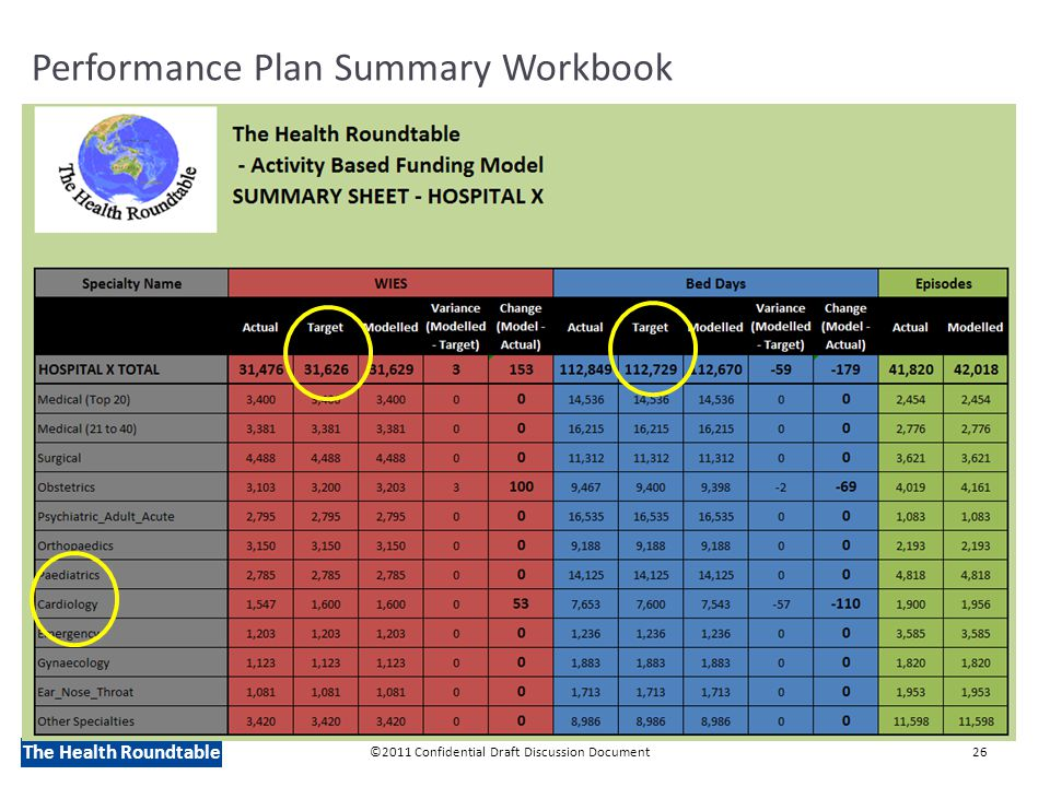The Health Roundtable Performance Plan Summary Workbook ©2011 Confidential Draft Discussion Document26