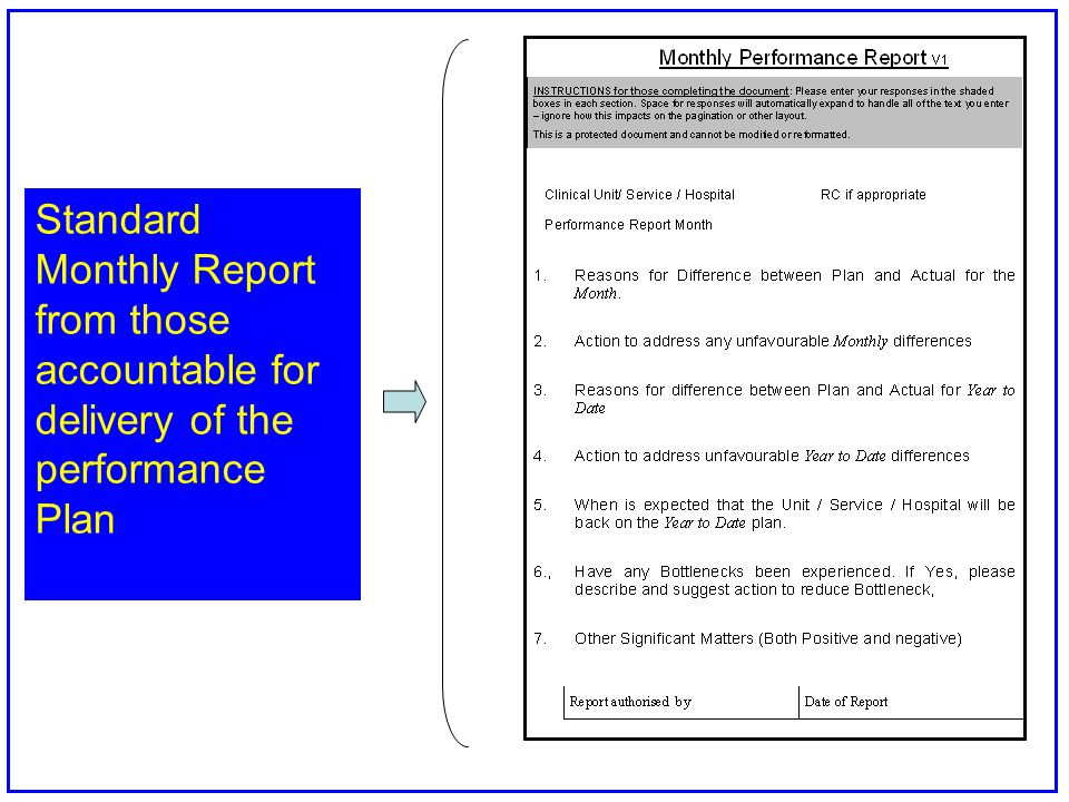 Standard Monthly Report from those accountable for delivery of the performance Plan