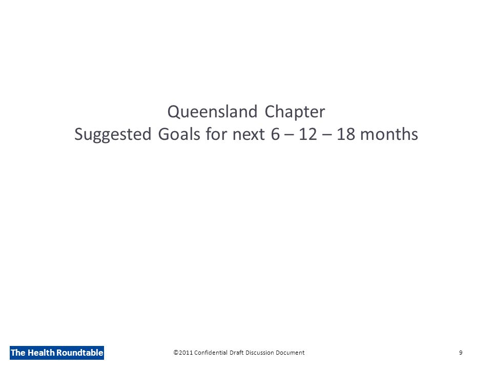 The Health Roundtable Queensland Chapter Suggested Goals for next 6 – 12 – 18 months ©2011 Confidential Draft Discussion Document9