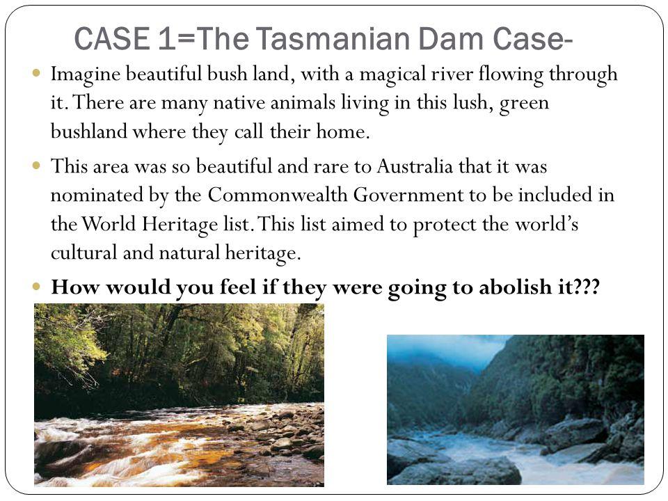 CASE 1=The Tasmanian Dam Case- Imagine beautiful bush land, with a magical river flowing through it.