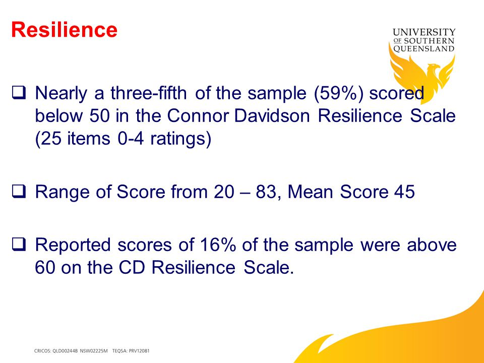 Resilience  Nearly a three-fifth of the sample (59%) scored below 50 in the Connor Davidson Resilience Scale (25 items 0-4 ratings)  Range of Score from 20 – 83, Mean Score 45  Reported scores of 16% of the sample were above 60 on the CD Resilience Scale.