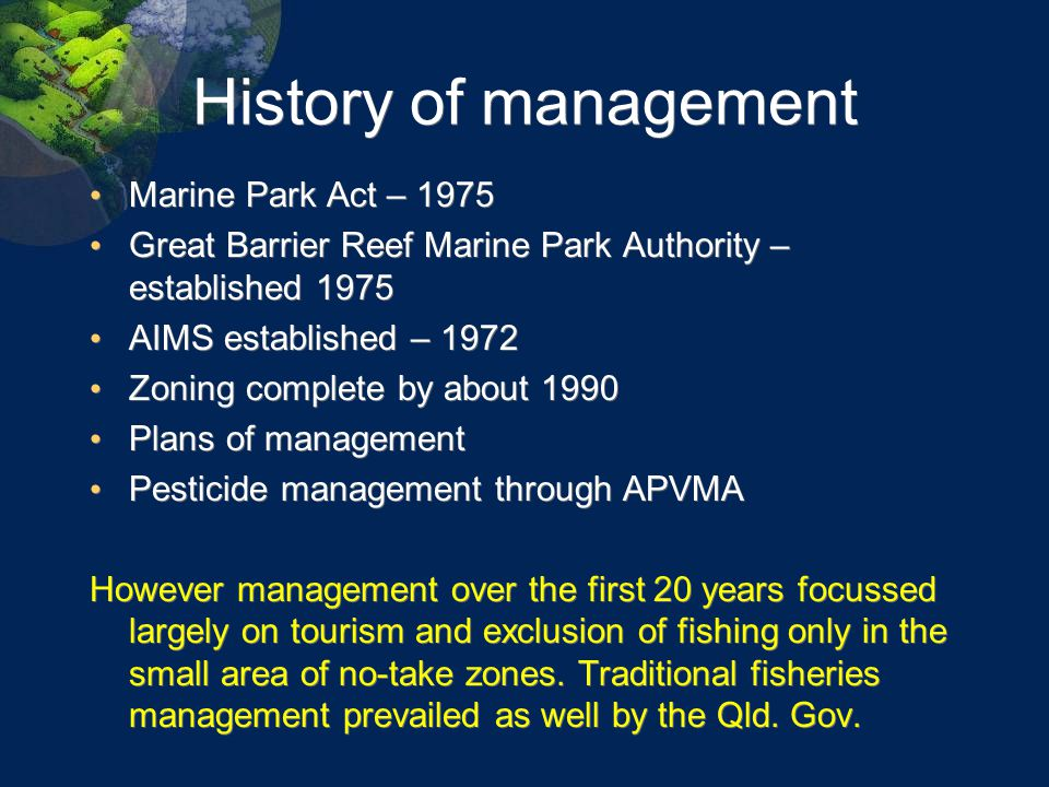 What about management of fishing, water quality and climate change.