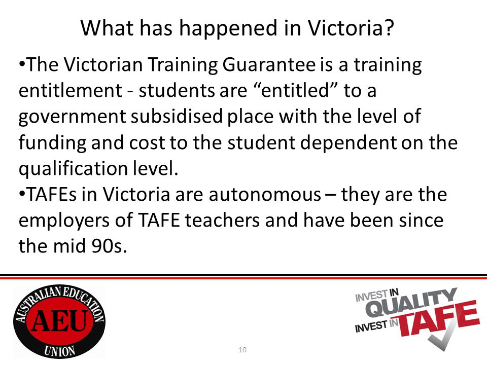 10 What has happened in Victoria.