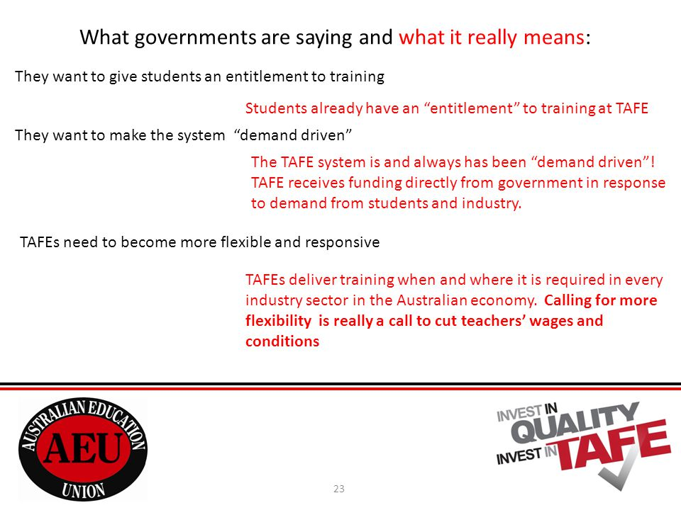 23 What governments are saying and what it really means: They want to give students an entitlement to training Students already have an entitlement to training at TAFE They want to make the system demand driven The TAFE system is and always has been demand driven .
