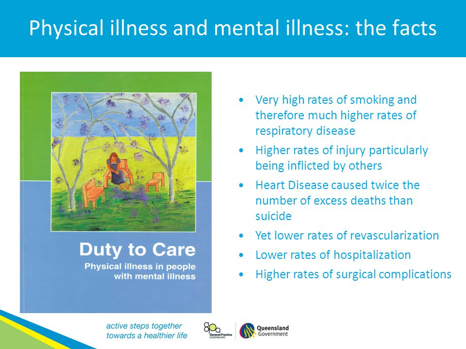 Physical illness and mental illness: the facts Very high rates of smoking and therefore much higher rates of respiratory disease Higher rates of injur
