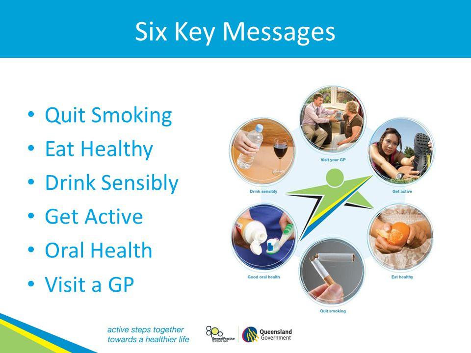 Six Key Messages Quit Smoking Eat Healthy Drink Sensibly Get Active Oral Health Visit a GP