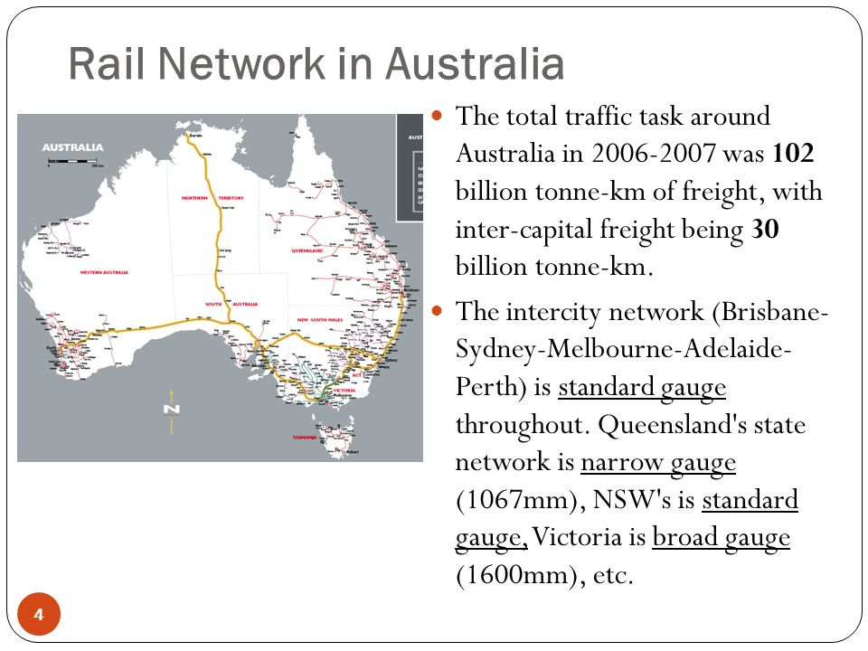 Rail Network in Australia 5 5 On the main intercity lines throughout Australia heavy duty concrete sleepers are the sleeper of choice by a great margin, usually with Pandrol e-clip type fasteners.