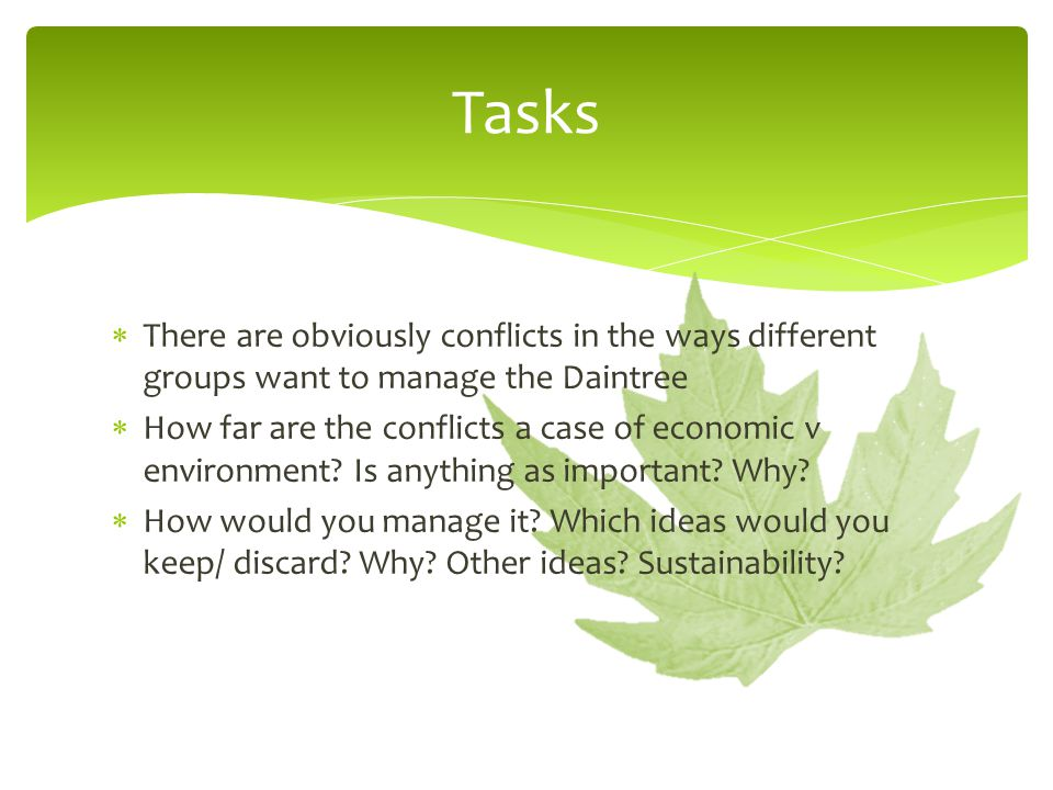  There are obviously conflicts in the ways different groups want to manage the Daintree  How far are the conflicts a case of economic v environment.