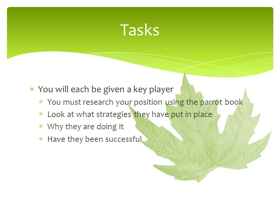 Tasks  You will each be given a key player  You must research your position using the parrot book  Look at what strategies they have put in place 
