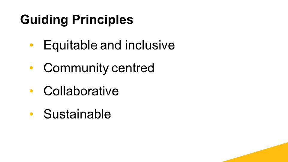 Guiding Principles Equitable and inclusive Community centred Collaborative Sustainable