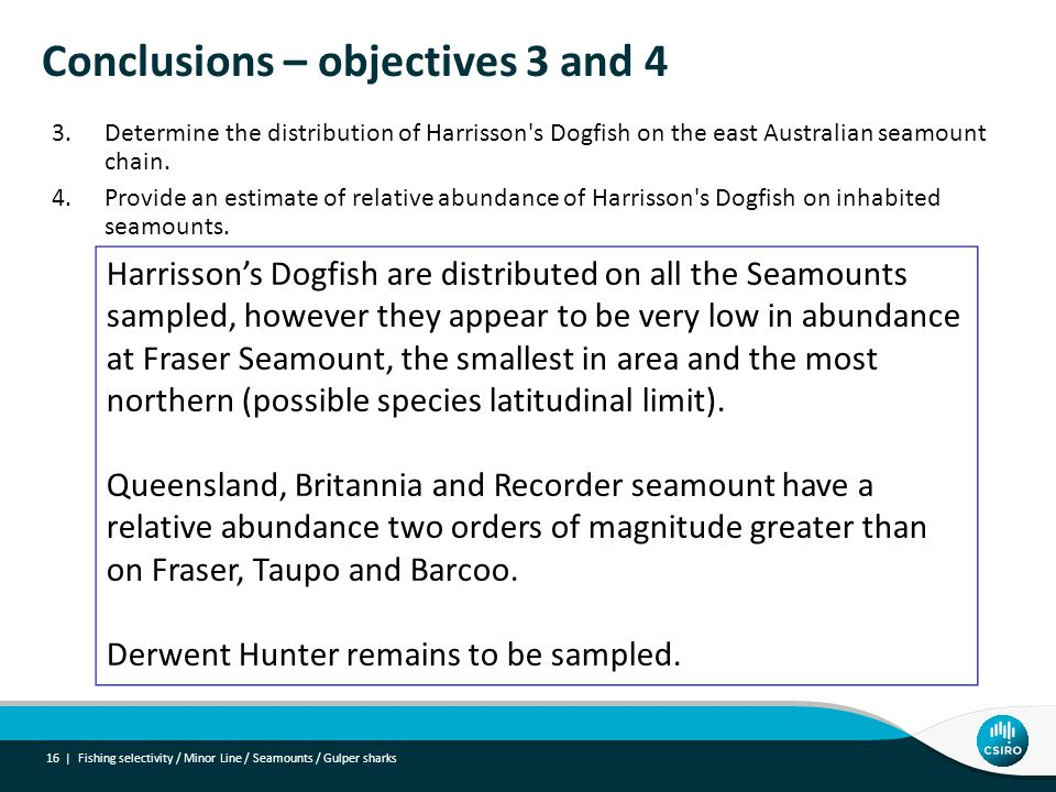 Conclusions – objectives 3 and 4 16 | 3.Determine the distribution of Harrisson s Dogfish on the east Australian seamount chain.