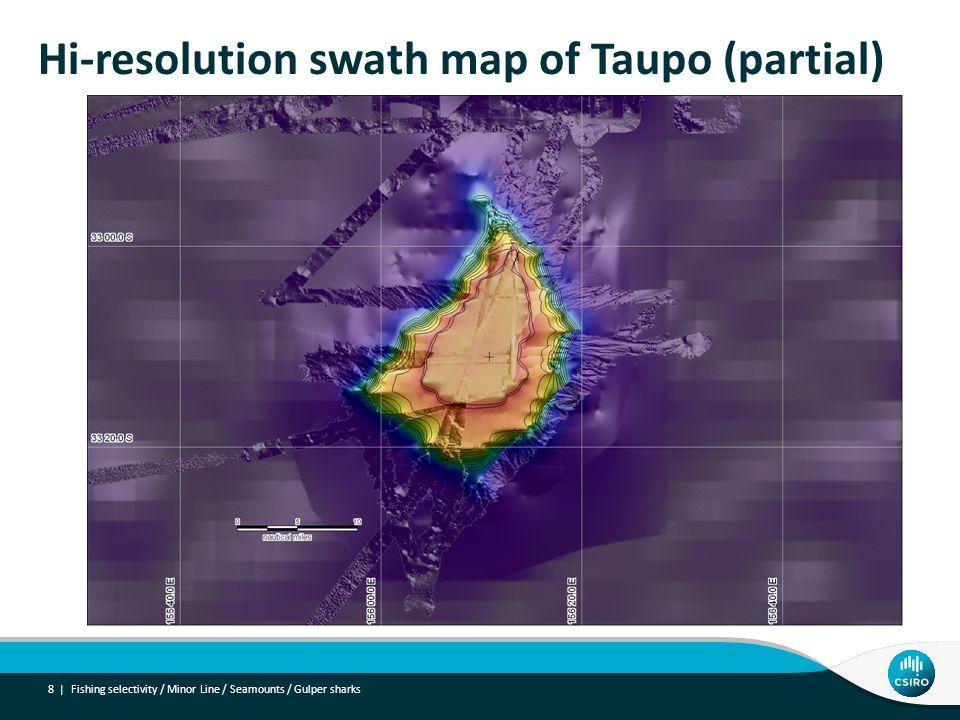 Hi-resolution swath map of Taupo (partial) 8 | Fishing selectivity / Minor Line / Seamounts / Gulper sharks