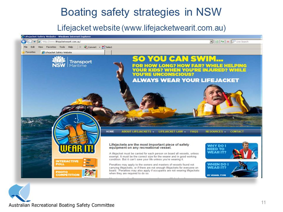 11 Boating safety strategies in NSW Lifejacket website (www.lifejacketwearit.com.au)