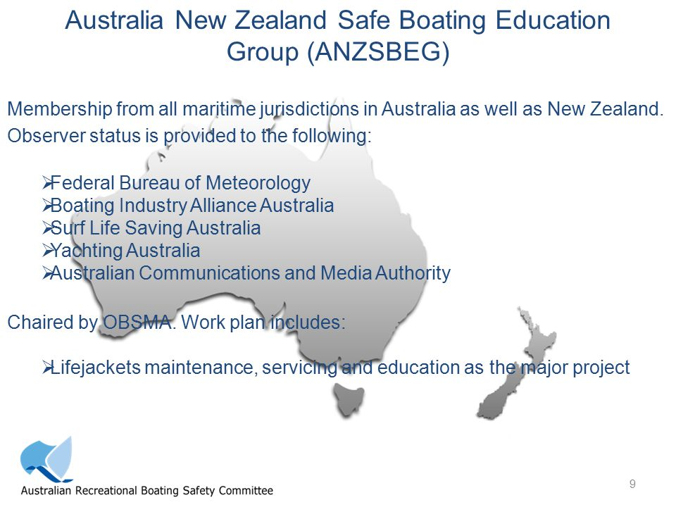 9 Australia New Zealand Safe Boating Education Group (ANZSBEG) Membership from all maritime jurisdictions in Australia as well as New Zealand.