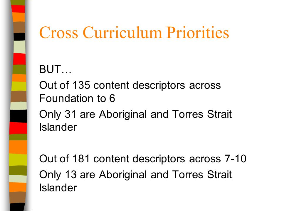 Cross Curriculum Priorities BUT… Out of 135 content descriptors across Foundation to 6 Only 31 are Aboriginal and Torres Strait Islander Out of 181 co