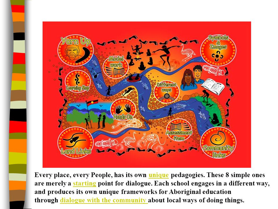 Every place, every People, has its own unique pedagogies. These 8 simple ones are merely a starting point for dialogue. Each school engages in a diffe