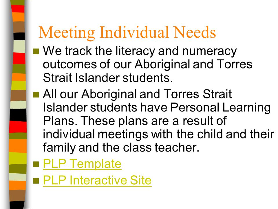 We track the literacy and numeracy outcomes of our Aboriginal and Torres Strait Islander students. All our Aboriginal and Torres Strait Islander stude