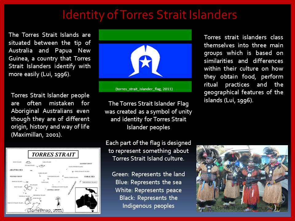 (torres_strait_islander_flag, 2011) Torres Strait Islander people are often mistaken for Aboriginal Australians even though they are of different orig