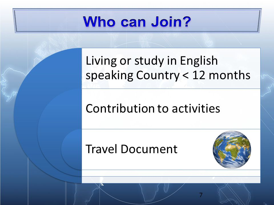 Living or study in English speaking Country < 12 months Contribution to activities Travel Document 7