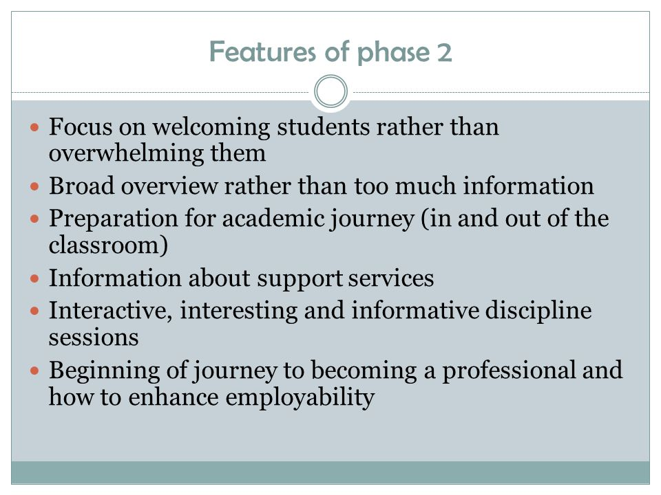 Features of phase 2 Focus on welcoming students rather than overwhelming them Broad overview rather than too much information Preparation for academic journey (in and out of the classroom) Information about support services Interactive, interesting and informative discipline sessions Beginning of journey to becoming a professional and how to enhance employability